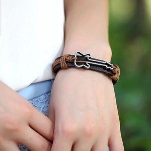 adjustable leather bracelet Guitar charm rock